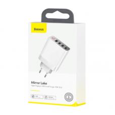 Сетевое зарядное устройство Baseus Mirror Lake Digital Display 4USB Travel Charger 30W (EU) (CCJMHB-B02) - White