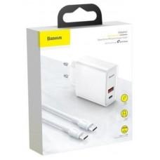 Сетевое зарядное устройство Baseus Speed PPS Quick charger C+U 30W With 1M C to C Cable EU (TZCAFS-A02) - White