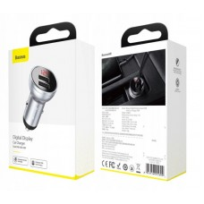 Автомобильное зарядное устройство Baseus Digital Display Dual USB 4.8A Car Charger 24W (CCBX-0S) - Silver