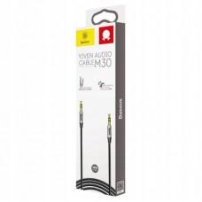 Кабель AUX Baseus Yiven Audio Cable 3.5 male Audio M30 1M (CAM30-BS1) - Silver+Black