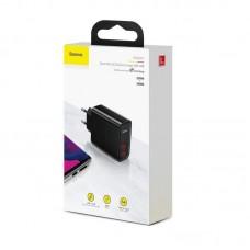 Сетевое зарядное устройство Baseus Speed Dual QC3.0 Quick charger U+U 30W EU (CCFS-E01) - Black