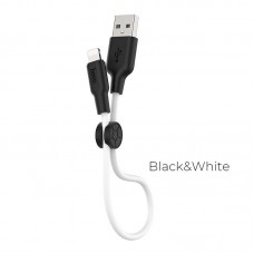 Кабель hoco X21 Plus Silicone charging cable for Lightning (L=0.25M) - Black/White