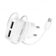 Зарядка hoco C59A Mega joy double port charger for Type-C (EU) - White