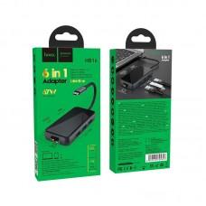 Хаб hoco Type-C HB16 Easy expand USB3.0*3 + HDMI + PD + RJ45