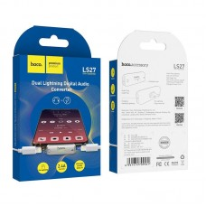 Адаптер hoco LS27 цифровой аудио конвертер с двойным Lightning - Silver
