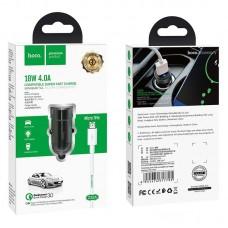 Автомобильное ЗУ hoco Z32A Flash power Micro - Black