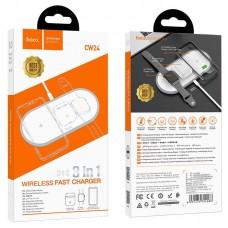 Беспроводное зарядное устройство hoco CW24 Handsome 3 в 1 - White