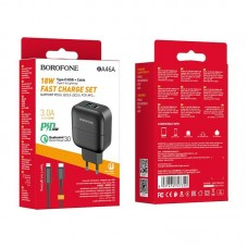 Сетевой адаптер Borofone BA46A USB-C to Lightning PD - Black