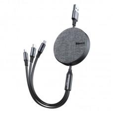 Кабель Baseus Fabric 3-in-1 Flexible Cable USB For M+L+T 3.5A 1.2m (CAMLT-BYG1) - Dark Gray