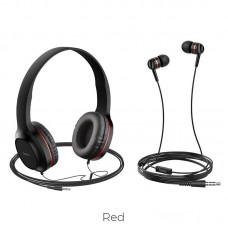 Наушники hoco W24 Enlighten headphones with mic set - Red