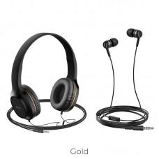 Наушники hoco W24 Enlighten headphones with mic set - Gold