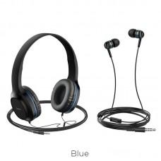 Наушники hoco W24 Enlighten headphones with mic set - Blue