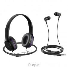 Наушники hoco W24 Enlighten headphones with mic set - Purple
