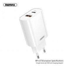Сетевой адаптер REMAX Simple Series QC 3.0+ PD Fast Charging Adapter RP-U37 - White