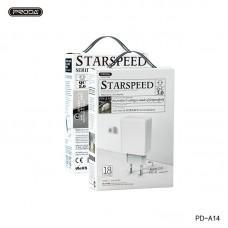 Сетевой адаптер Proda Starspeed series QC 3.0 Quick ChargerPD-A14 (EU) - White