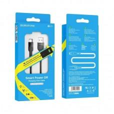 Кабель Borofone BU17 Starlight smart power off charging data cable forLightning - Black