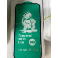 """Защитное стекло 18D """"Tempered Glass Film"""" силиконовые края для Iphone 6/7/8 - Black"""
