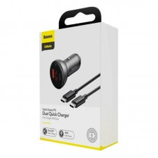 Автомобильное зарядное устройство BaseusDigital Display PPS Dual Quick Charger Car Charger 45W With Mini Cable Type-C to Type-C 60W (20V/3A) - Black 1m (TZCCBX-C0G)