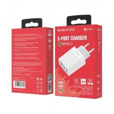 Сетевой адаптер Borofone BA40A Speedway three-Port QC3.0 charger (EU) - White