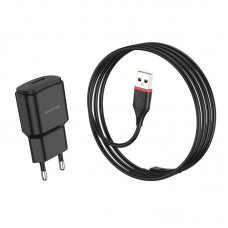 Сетевой адаптер Borofone BA48A Orion single port charger set (Lightning) (EU) - Black