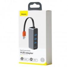 Хаб Baseus Steel Cannon Series USB A to USB3.0*3+RJ45 HUB Adapter (CAHUB-AH0G) - Dark gray