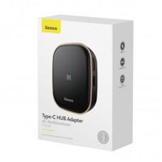 Хаб Baseus Type-C HUB Adapter AC Multifunctional Charger (EU) (CAHUB-AU01) - Black