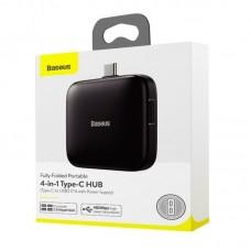 Хаб Baseus Fully folded portable 4-in-1 Type-C HUB (Type-C to USB2.0*4 with power supply) (CAHUB-DW01) - Black