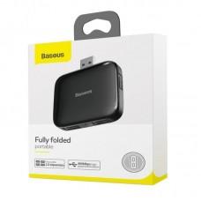 Хаб Baseus Fully folded portable 4-in-1 USB HUB (USB A to USB2.0*4 with power supply) (CAHUB-CW01) - Black