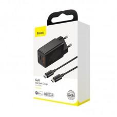 Сетевой адаптер Baseus GaN Mini Quick Charger C+U 45W EU (With Mini Cable Type-C to Type-C 60W 20V/3A) 1m (CCGAN-Q01) - Black