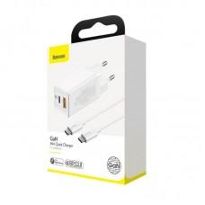 Сетевой адаптер Baseus GaN Mini Quick Charger C+U 45W EU (With Mini Cable Type-C to Type-C 60W 20V/3A) 1m (CCGAN-Q02) - White