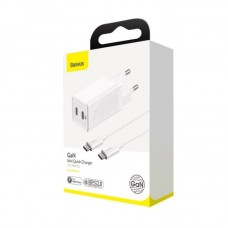 Сетевой адаптер Baseus GaN2 Quick Charger C+C 45W EU (With Mini Cable Type-C to Type-C 60W (20V/3A) 1m (CCGAN-M02) - White