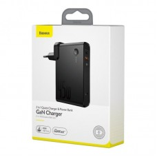 Сетевой адаптер Baseus Power Station (GaN) 2 in 1 Quick Charge Power bank & Charger C+U 10000mAh 45W EU Black Include Baseus Xiaobai series fast charging Cable Type-Cto Type-C 60W(20V/3A) 1m (PPNLD-C01) - Black
