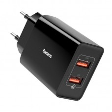 Сетевой адаптер Baseus Speed Mini QC Dual U Quick Charger 18W EU (CCFS-V01) - Black
