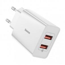 Сетевой адаптер Baseus Speed Mini QC Dual U Quick Charger 18W EU (CCFS-V02) - White