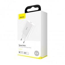 Сетевой адаптер Baseus Speed Mini PD single Type-C Quick Charger 18W EU (CCFS-X02) - White