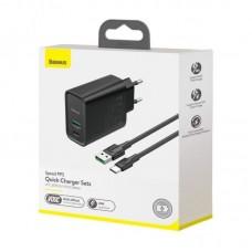 Сетевой адаптер Baseus Speed PPS Quick Charger C+A 30W EU VOOC Edition?Baseus Mini White series Vooc flash data cable USB for type-C 5A 1m) (TZCCFS-H01) - Black