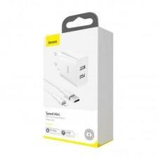 Сетевой адаптер DZ-HW Baseus Speed Mini Dual U Travel Charger 10.5W White ChargingSets (EU) (With Mini White Cable USB For iP 2.4A) 1m (TZCCFS-R02) - White