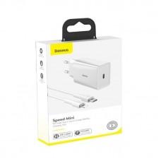 Сетевой адаптер DZ-HW Baseus Speed Mini PD single Type-C Quick Charger 18W White ChargingSets (EU) (With Baseus Mini White Cable Type-C to iP PD 18W) 1m (TZCCFS-X02) - White