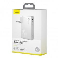 Сетевой адаптер Baseus Power Station (GaN) 2 in 1 Quick Charge Power bank & Charger C+C 10000mAh 45W EU 1m (PPNLD-F02) - White