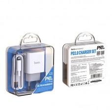 Сетевой адаптер hoco C76A Speed source PD3.0 charger set (C TO Lightning) (EU) - White