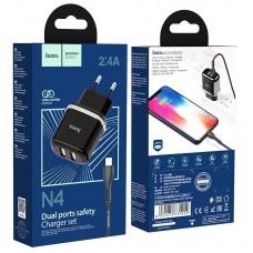 Сетевой адаптер hoco N4 Aspiring dual port charger set (for Lightning) (EU) - Black