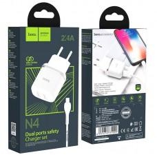 Сетевой адаптер hoco N4 Aspiring dual port charger set (for Lightning) (EU) - White