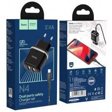 Сетевой адаптер hoco N4 Aspiring dual port charger set (for Micro) (EU) - Черный