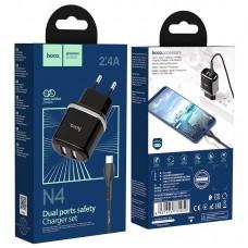 Сетевой адаптер hoco N4 Aspiring dual port charger set (for Type-C) (EU) - Black