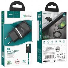 Сетевой адаптер hoco N3 Special single port QC3.0 charger set (Type-C) (EU) - Black