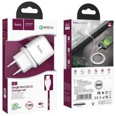 Сетевой адаптер hoco N3 Special single port QC3.0 charger set (Type-C) (EU) - White