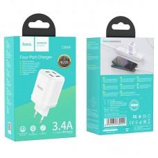 Сетевой адаптер hoco C84A Resolute four-port charger (EU) - White