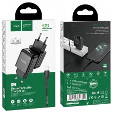 Сетевой адаптер hoco N2 Vigour single port charger Set (Lightning) (EU) - Black
