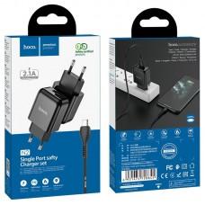 Сетевой адаптер hoco N2 Vigour single port charger Set (Micro) (EU) - Black