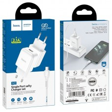 Сетевой адаптер hoco N2 Vigour single port charger Set (Micro) (EU) - White